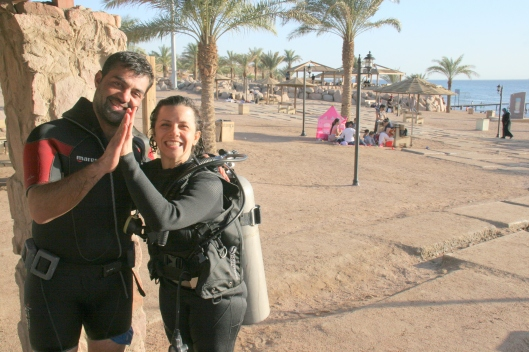 "Me and Omar after our wonderful shore dive of ""The Cedar Pride"" Shipwreck"