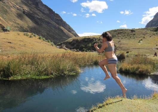 Jumping into the river to cool off