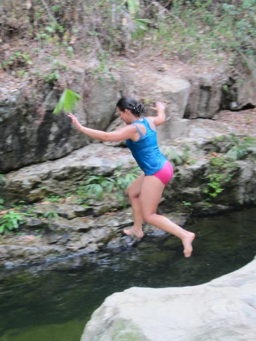 Jumping into a swimming hole