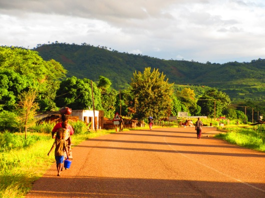 Setting out through Chitimba village at 6am