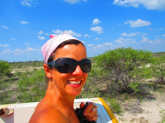 Heading into Etosha, watching for wildlife from the Beach on the truck