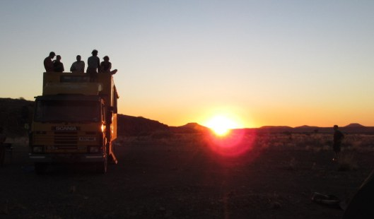 Sunset and partying on the roof of our truck in our Bush Camp