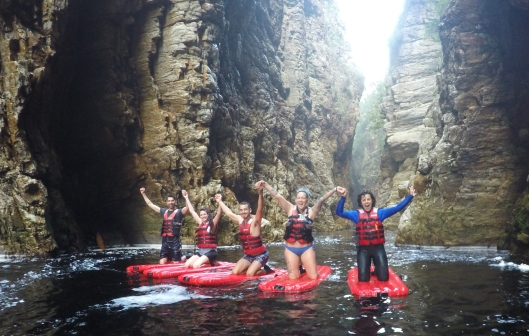 "On our ""Lilos"" in Storms River Gorge"