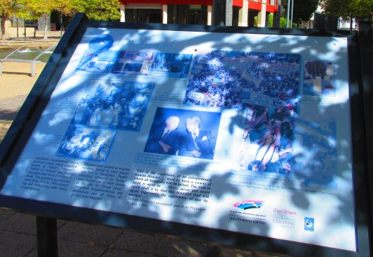 Sign capturing historic facts concerning Apartheid in Cape Town